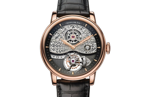 Arnold & Son TE8 Métiers D'art II - 18k Rose Gold on Black Leather - Black Dial
