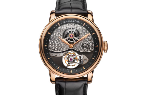 Arnold & Son TE8 Métiers D'art I - 18k Rose Gold on Black Leather - Black Dial