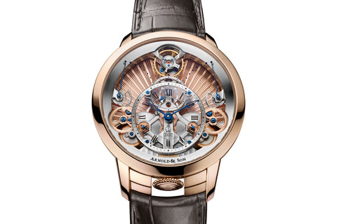 Arnold & Son Time Pyramid - 18k Rose Gold on Brown Leather - Gold Skeleton Dial
