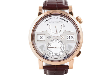 A. Lange & Sohne Zeitwerk Striking Time - Rose Gold on Brown Leather - Silver Dial