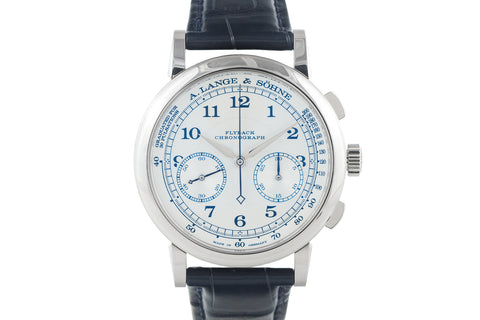 A. Lange & Sohne 1815 Chronograph Boutique Edition - 18k White Gold on Blue Leather - Silver Dial