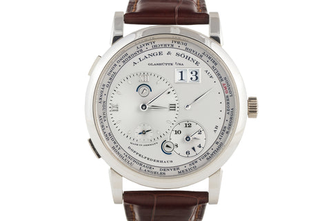 A. Lange & Sohne Lange 1 Time Zone - Platinum on Brown Leather - Silver Dial