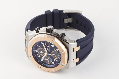Audemars Piguet Royal Oak Offshore Chronograph Bucherer Edition 18K Rose Gold & Stainless Steel on Blue Rubber