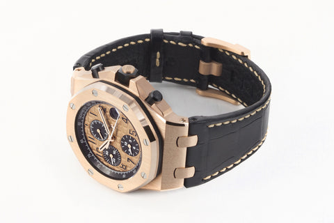 Audemars Piguet Royal Oak Offshore Chronograph 42mm 18K Rose Gold on Black Leather - Gold Dial