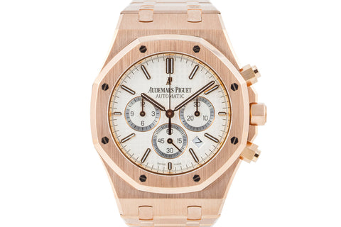 Audemars Piguet Royal Oak Chronograph 41mm Rose Gold on Bracelet - White Dial