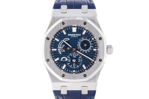 Audemars Piguet Royal Oak Dual Time 39mm Stainless Steel on Blue Leather - Blue Dial