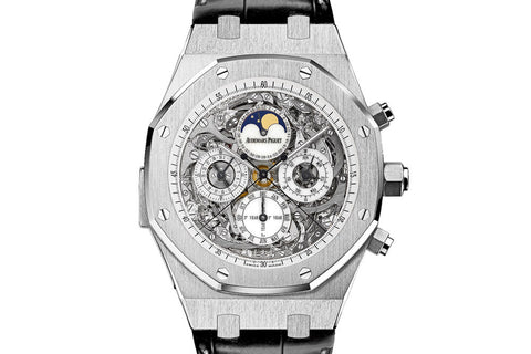 Audemars Piguet Royal Oak Grande Complication 44mm Titanium on Black Leather - White Skeleton Dial