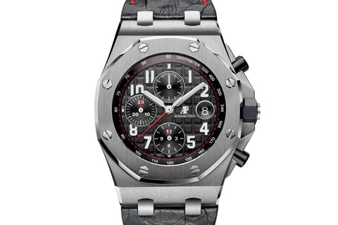 Audemars Piguet Royal Oak Offshore Chronograph Stainless Steel on Black Leather - Black & Red Dial