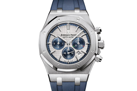 Audemars Piguet Royal Oak Chronograph 41mm Stainless Steel on Blue Rubber Strap - White & Blue Dial