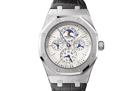 Audemars Piguet Royal Oak Equation of Time 42mm Stainless Steel on Black Leather - White Dial