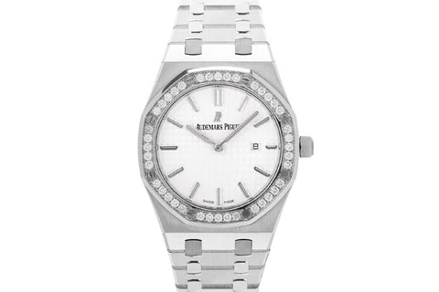 Audemars Piguet Royal Oak Quartz 33mm Stainless Steel on Bracelet - White Dial Diamond Bezel