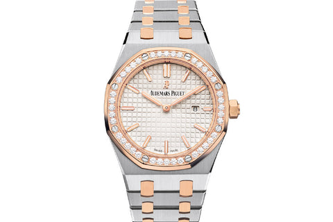 Audemars Piguet Royal Oak Quartz 33mm Stainless Steel & 18K Rose Gold on Bracelet - Silver Dial Diamond Bezel