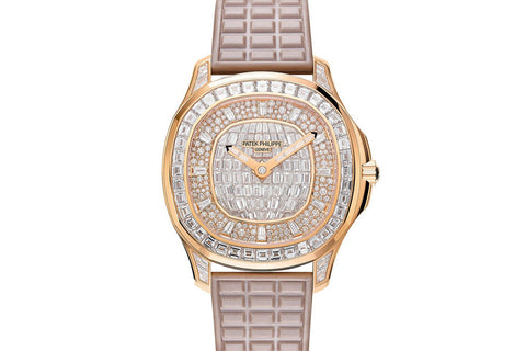 Patek Philippe Aquanaut Ladies 5062/450R-001 - Rose Gold on Beige Rubber - Diamond Dial w/ Diamond Bezel