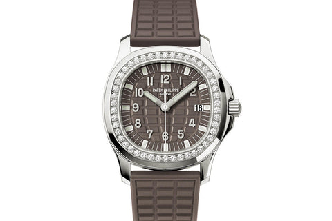 Patek Philippe Aquanaut Ladies 5067A-023 - Stainless Steel on Brown Rubber - Brown Dial w/ Diamond Bezel