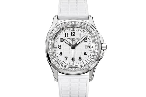 Patek Philippe Aquanaut Ladies 5067A-024 - Stainless Steel on White Rubber - White Dial w/ Diamond Bezel