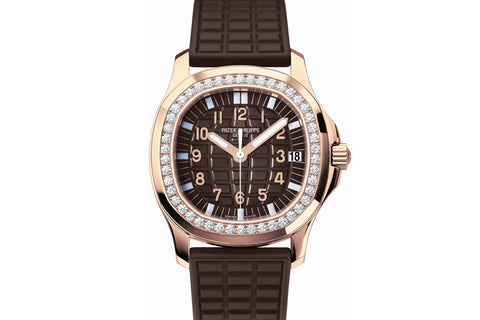 Patek Philippe Aquanaut Ladies 5068R-001 - Rose Gold on Brown Rubber - Brown Dial w/ Diamond Bezel