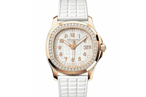 Patek Philippe Aquanaut Ladies 5068R-010 - Rose Gold on White Rubber - White Dial w/ Diamond Bezel