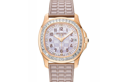 Patek Philippe Aquanaut Ladies 5072R-001 - Rose Gold on Beige Rubber - Pearl Dial w/ Diamond Bezel