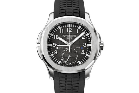 Patek Philippe Aquanaut Travel Time 5164A-001 - Stainless Steel on Black Rubber - Black Dial