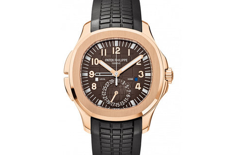 Patek Philippe Aquanaut Travel Time 5164R-001 - Rose Gold on Black Rubber - Brown Dial
