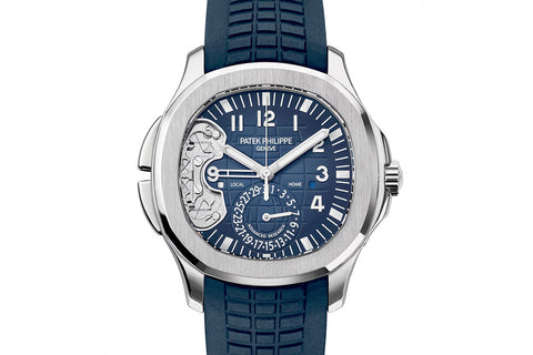 Patek Philippe Aquanaut Travel Time Advanced Research 5650G-001 - White Gold on Blue Rubber - Blue Dial