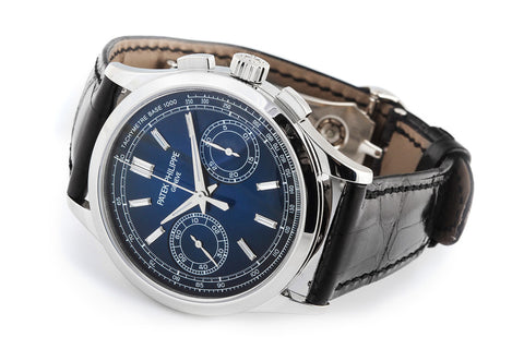 Patek Philippe Grand Complications Chronograph 5170-001 - Platinum on Black Leather - Blue Dial