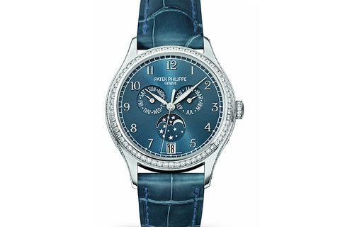 Patek Philippe Complications Annual Calendar Ladies 4947G-001 - White Gold on Blue Leather - Blue Dial w/ Diamond Bezel