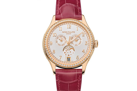 Patek Philippe Complications Annual Calendar Ladies 4947R-001 - Rose Gold on Red Leather - Silver Dial w/ Diamond Bezel