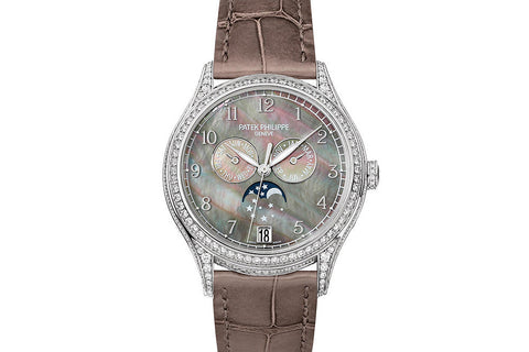 Patek Philippe Complications Annual Calendar Ladies 4948G-001 - White Gold & Diamond on Brown Leather - Pearl Dial w/ Diamond Bezel