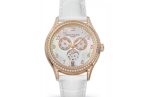 Patek Philippe Complications Annual Calendar Ladies 4948R-001 - Rose Gold & Diamond on White Leather - Pearl Dial w/ Diamond Bezel