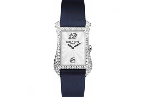 Patek Philippe Gondolo Serata Ladies 4972G-001 - White Gold & Diamond on Blue Satin - Pearl Dial