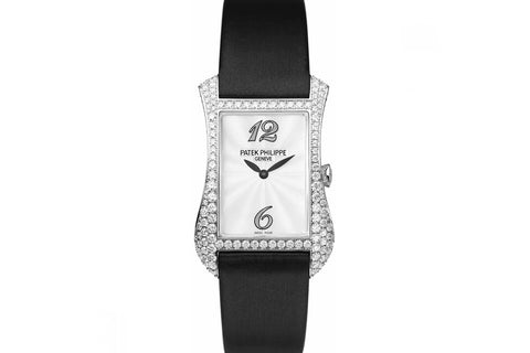 Patek Philippe Gondolo Serata Ladies 4973G-001 - White Gold & Diamond on Black Satin - Pearl Dial