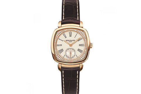 Patek Philippe Gondolo Ladies 7041R-001 - Rose Gold & Diamond on Brown Leather - Silver Dial