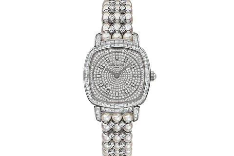 Patek Philippe Gondolo Ladies 7042/100G-010 - White Gold & Diamond on Diamond & Pearl Bracelet - Diamond Dial