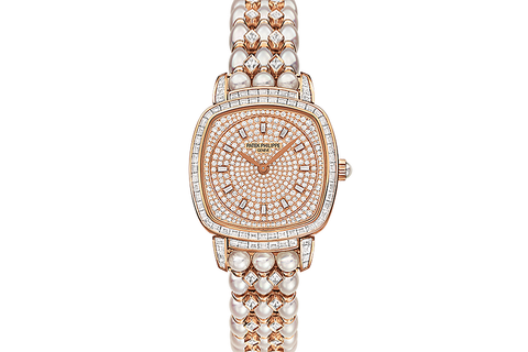 Patek Philippe Gondolo Ladies 7042/100R-010 - Rose Gold & Diamond on Diamond & Pearl Bracelet - Diamond Dial