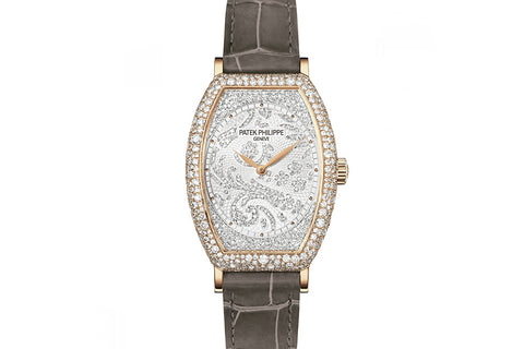 Patek Philippe Gondolo Ladies 7099R-001 - Rose Gold & Diamond on Taupe Leather - Diamond Dial