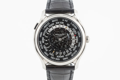Patek Philippe Grand Complications 175th Anniversary World Time 5575G-001 - White Gold on Black Leather - Black Dial