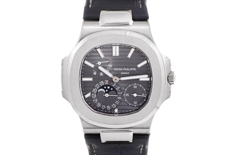 Patek Philippe Nautilus Moonphase 5712G-001 - White Gold on Black Leather - Grey Dial