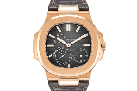 Patek Philippe Nautilus Moonphase 5712R-001 - Rose Gold on Brown Leather - Grey Dial