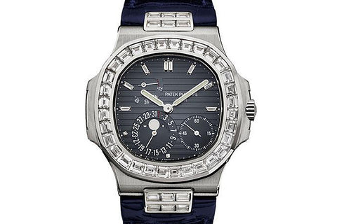 Patek Philippe Nautilus Moonphase 5724G-001 - White Gold on Blue Leather - Grey Dial w/ Diamond Bezel