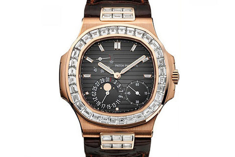 Patek Philippe Nautilus Moonphase 5724R-001 - Rose Gold on Black & Red Leather - Grey Dial w/ Diamond Bezel