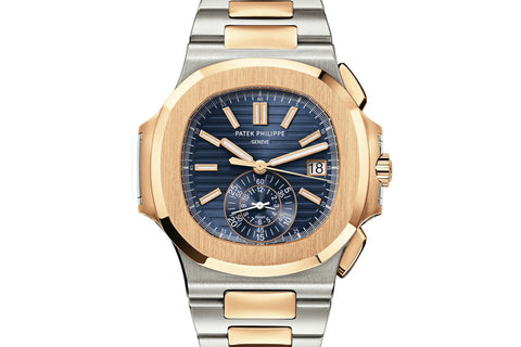 Patek Philippe Nautilus Chronograph 5980/1AR-001 - Stainless Steel & Rose Gold on Bracelet - Blue Dial