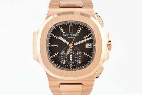 Patek Philippe Nautilus Chronograph 5980/1R-001 - Rose Gold on Bracelet - Black Dial