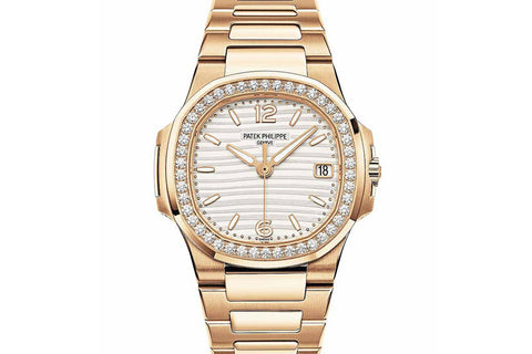 Patek Philippe Ladies Nautilus 7010/1R-011 - Rose Gold on Bracelet - White Dial w/ Diamond Bezel