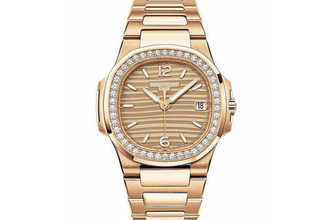 Patek Philippe Ladies Nautilus 7010/1R-012 - Rose Gold on Bracelet - Gold Dial w/ Diamond Bezel