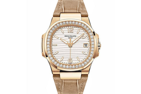 Patek Philippe Ladies Nautilus 7010/R-011 - Rose Gold on Leather Strap - White Dial w/ Diamond Bezel