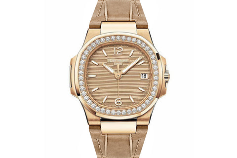 Patek Philippe Ladies Nautilus 7010/R-012 - Rose Gold on Leather Strap - Gold Dial w/ Diamond Bezel