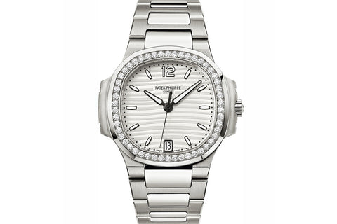 Patek Philippe Ladies Nautilus 7018/1A-001 - Stainless Steel on Bracelet - White Dial w/ Diamond Bezel