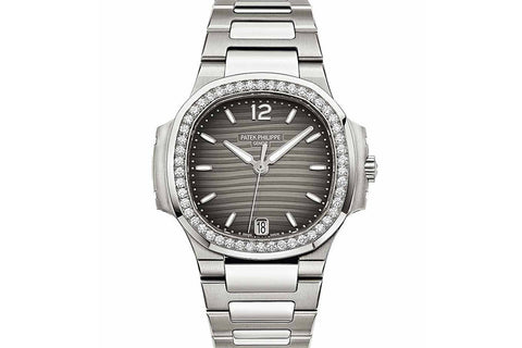 Patek Philippe Ladies Nautilus 7018/1A-011 - Stainless Steel on Bracelet - Grey Dial w/ Diamond Bezel