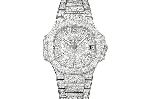 Patek Philippe Ladies Nautilus 7021/1G-001 - White Gold & Diamond on Bracelet - Diamond Dial w/ Diamond Bezel